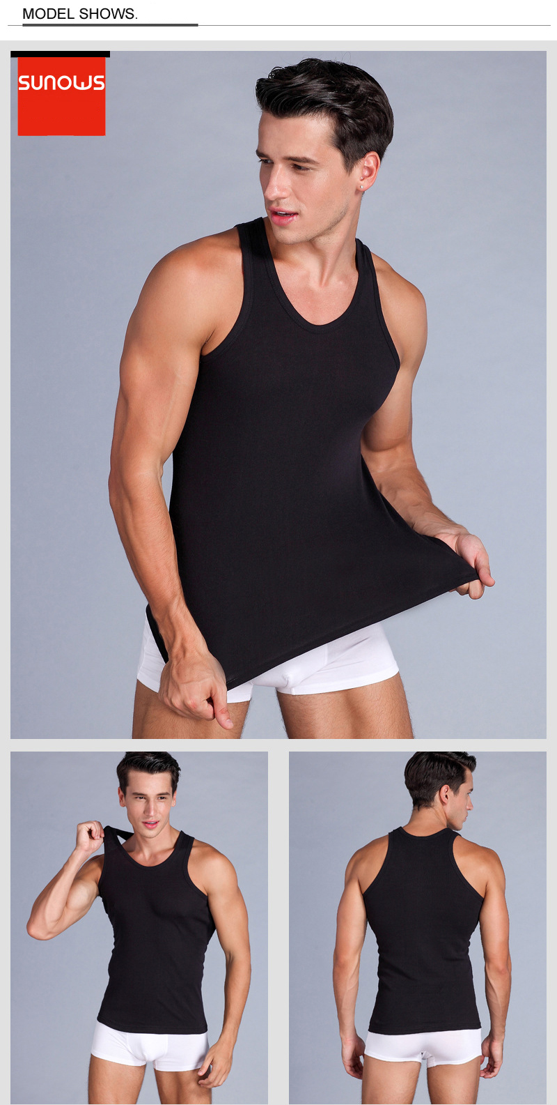 Men's Close-fitting Vest Fitness Elastic Casual O-neck Breathable H Type All Cotton Solid Undershirts Male Tanks 10