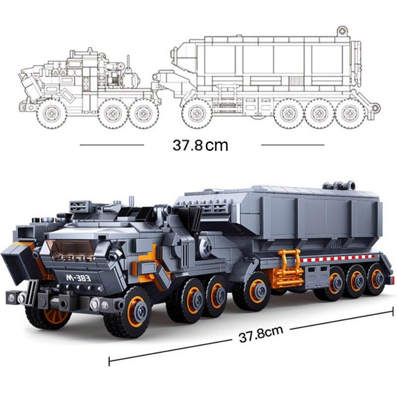 Sluban 0787 errant la terre Transport camion transporteur véhicule voiture Figure modèle bricolage bloc de construction Compatible avec la technologie jouet - 5
