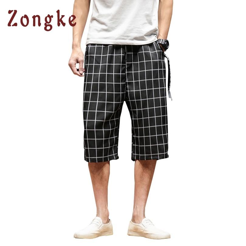 2018 Summer New Calf-Length Plaid Casual Pants Men Joggers Mens Linen Pant Streetwear Pantalon Homme Hip Hop Trousers Men