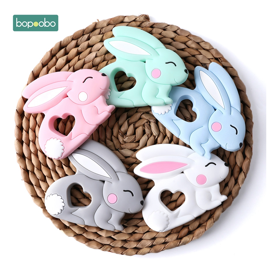Bopoobo 5pc Silicone Rabbit Teether Food Grade Bunny Teether Nursing Teething Necklace Accessories Baby Teether Freeship