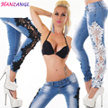 HANZANGL Lace Spliced Hole Jeans New Women Fashion Trousers Skinny Pencil Pants Low Waist Casual Blue Female Jeans