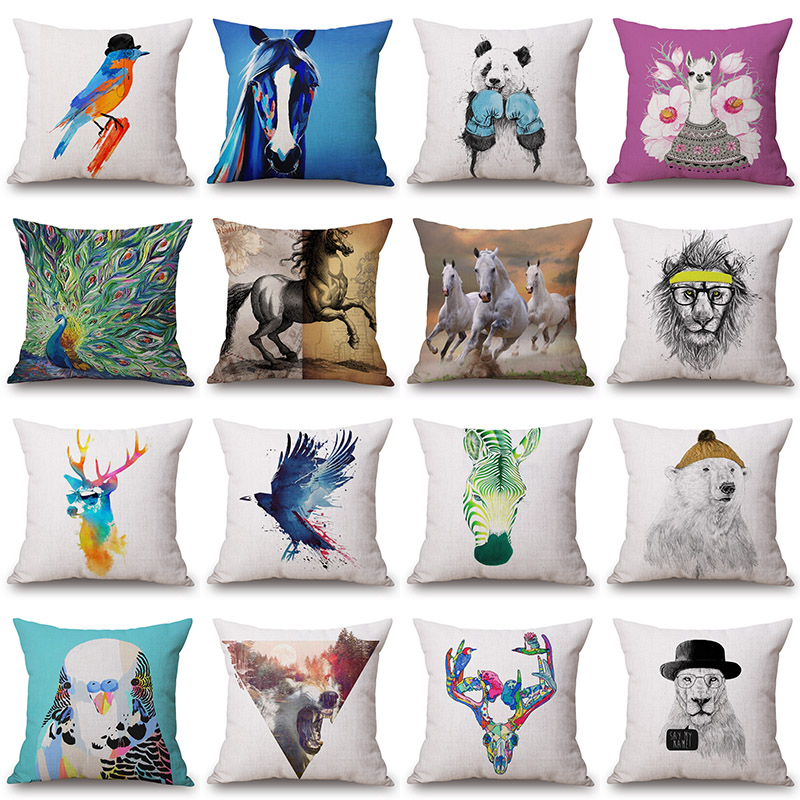 Peacock Reindeer Zebra Printed Cotton Linen Cushion Cover Decorative Pillowcase Use For Home Sofa Car Office Almofadas Cojines
