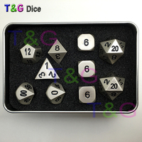 10pcs/set Zinc Alloy Dice Pearl Nickel Plating D4 3xd6 D8 D10 D12 2xd20 with Iron Box for Birthday Party Toy Gift ,Ludo