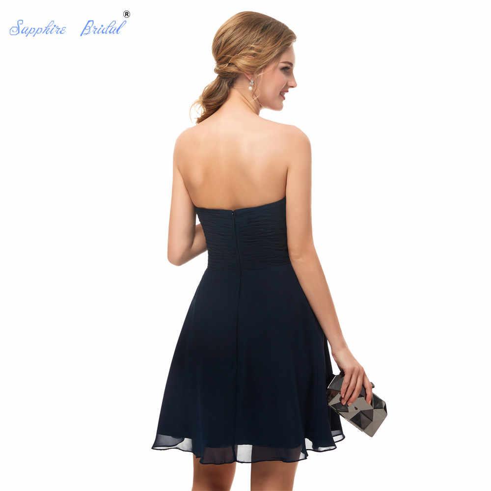 7093e4e41 ... Zafiro nupcial 2019 corto vestido de fiesta novia plisada gasa azul  marino Simple corto partido vestidos ...