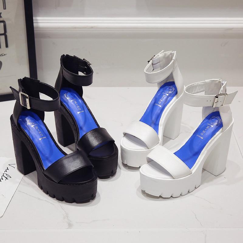 Gran Grueso Las 084white Verano Mujeres 25 Tacón Sandalias De Zapatos Suave Negro Moda Alto 082white La Pu Plataforma 2019 Tamaño Cm 082black 6HwOq5