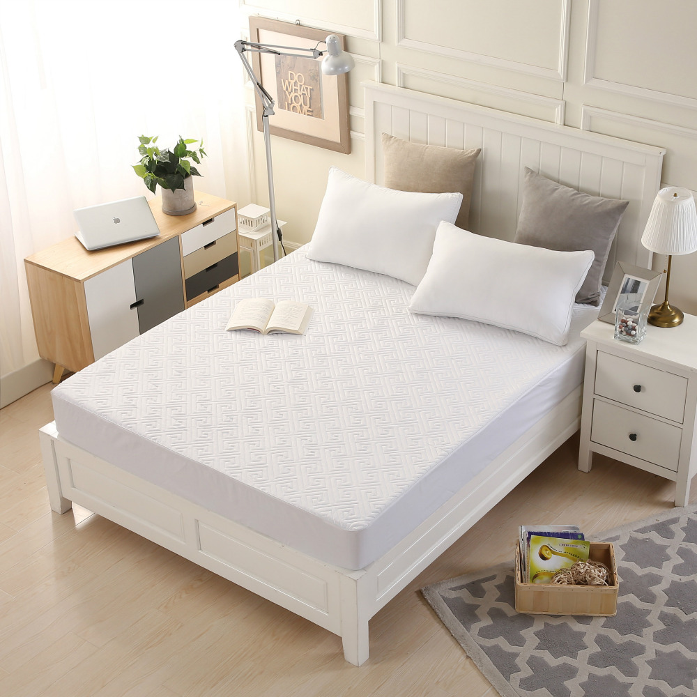 White Mattress Covers Polyester Anti-Bacteria Hotel mattress protector Four-season Home Air-Permeable housse matelas Customized