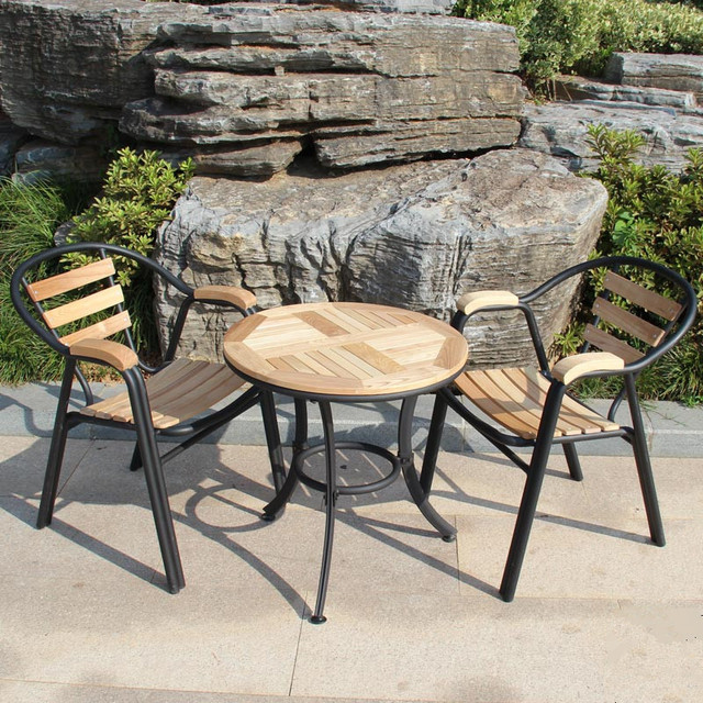 Combination Of Solid Wood Tables And Chairs, Wrought Iron Outdoor Furniture  Patio Teak Table And Chairs, Wrought Iron Balconies