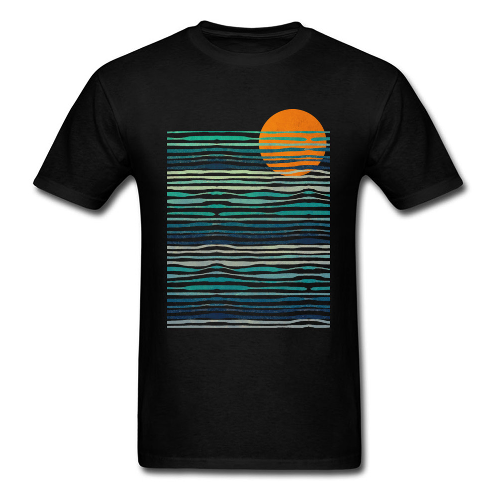 US $7 32 40% OFF|Ocean Sunset T shirt Holiday T Shirt Men Black Tshirt  Wholesale Custom Adult Tops Tees Company Cotton Fabric Clothes Vintage-in