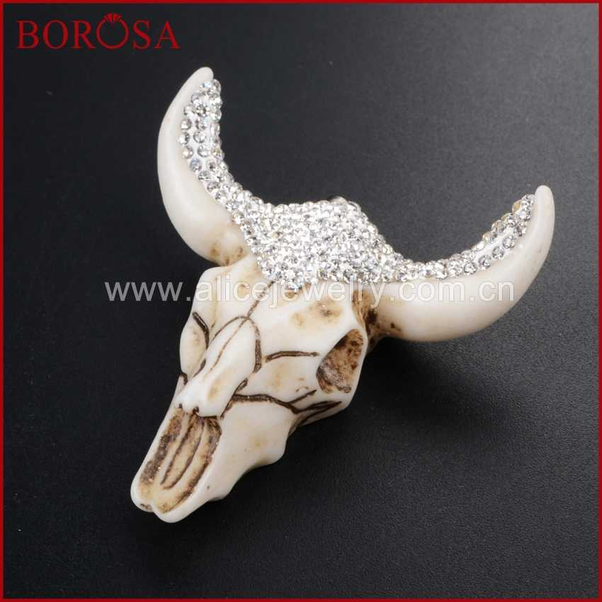 BOROSA 6pcs Longhorn จี้เรซินฮอร์นวัว Bull BUFFALO จี้ Pave สีดำ/สีขาว zircons แฟชั่นเครื่องประดับ JAB337 338 339