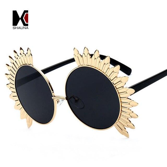 42a6dbbf3ee SHAUNA Oversized Sunflower Shape Women Round Sunglasses Fashion Ladies  Steet Beat Pink Reflective Glasses
