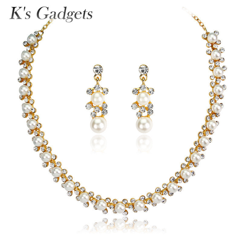 K'S Gadgets Gold Color Imitation Pearl Wedding Necklace Earring Set Bridal Jewelry Set For Women Elegant Party Fashion Costume