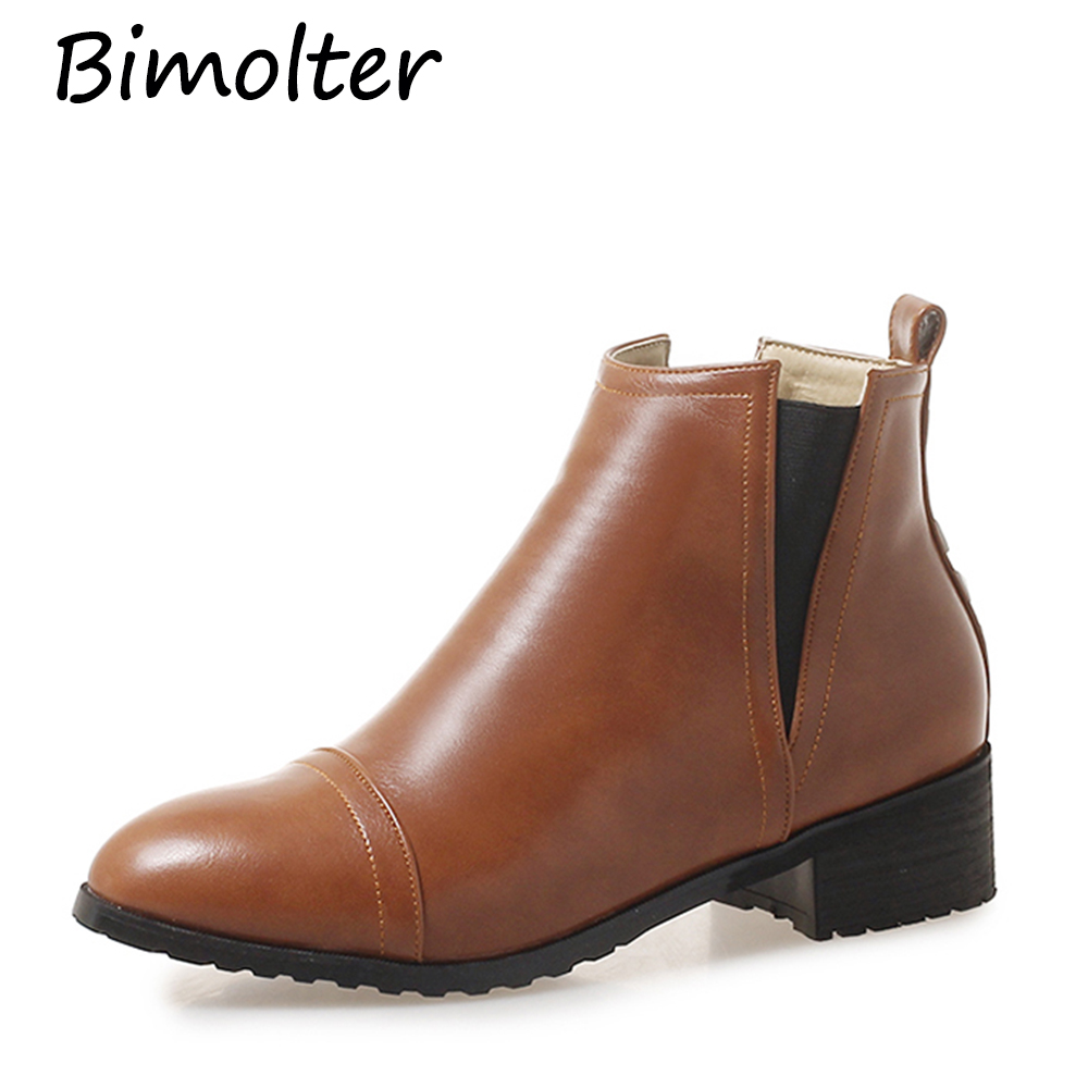 Bimolter Winter Women Point Toe Leather Shoe Square Chunky Heel Women Ankle Boots Female Rivet Comfortable Chelsea Boots PAEA025Bimolter Winter Women Point Toe Leather Shoe Square Chunky Heel Women Ankle Boots Female Rivet Comfortable Chelsea Boots PAEA025
