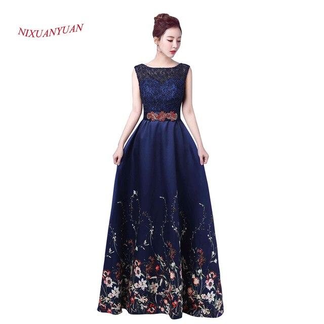 7e3b254a2 2017 Nuevo elegante azul marino vestido de noche moldeado 2017 vestidos  formales largos una línea vestido