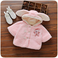 Winter Baby Parka Plus Thick Velvet Rabbit Baby Girls Snow Wear Infant Girls Outerwear Coat Double-breasted Cloak Girls Clothing