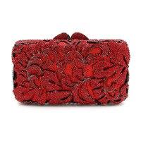 Newest Fashion Stylish Women Evening Bag Luxury Red Rhinestone Clutch Crystal Handbags Party Purse Wedding Bag