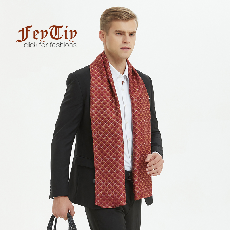 Systematic Winter Silk Scarf For Men Fashion Paisley Plaid Print Red Scarves Double-faced Twill Long Shawl 170x30cm Luxury Brand Men Scarfs High Safety Apparel Accessories