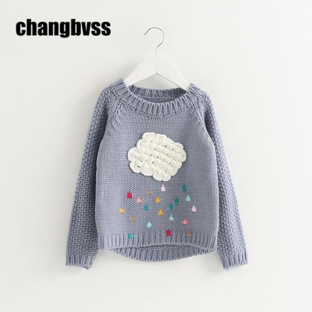Cute White Clouds Decoration Sweater Girls Children's Sweaters ...