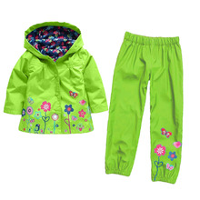 New Arrival 2017 Winter Kids Waterproof Hooded Rain Coats + Winter Autumn Floral Printed Long Pants Toddler Girl Outfits