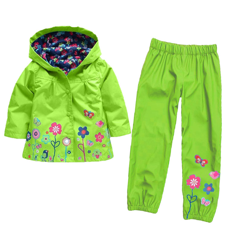 New Arrival 2018 Winter Kids Waterproof Hooded Rain Coats + Winter Autumn Floral Printed Long Pants Toddler Girl Outfits