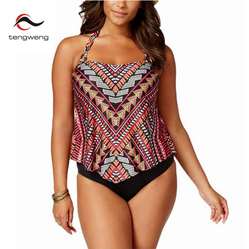 2017 Women Sexy Halter Two Piece Tankini Set Vintage Print Swimsuit Plus Size Swimwear Brazilian Sport BathingSuit Bikini XL-5XL