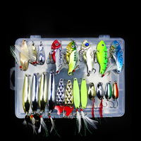WALK FISH Metal Spoonbill Set Spoon VIB bait with feather artificial bait Fishing bait in plastic box Fishing Accessories