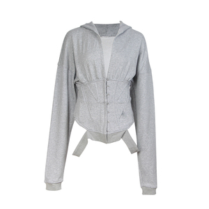 Image 3 - TWOTWINSTYLE Spring Sweatshirts For Womens Hoodies Long Sleeve V Neck High Waist Slim Sweatshirt Tops Female Fashion New 2020