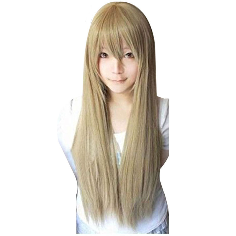80cm Star Butterfly Alice Costume Edward Elrich Long Straight Vocaloid Blonde Synthetic Cosplay Wig With Bangs+Wig Cap