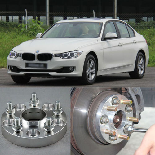Teeze 4pcs New Billet 5 Lug 14*1.5 Studs Wheel Spacers Adapters For BMW 3 Series 4pcs new billet 5 lug 14 1 5 studs wheel spacers adapters for bmw x5 e70 2007 2013