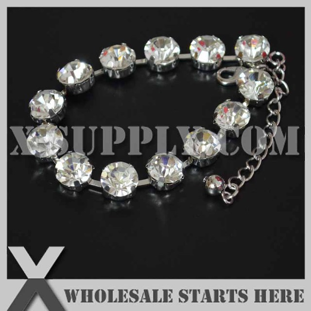 Ss45 10mm Round Rhinestone Tennis Bracelet Cup Chains Nickel Color For The