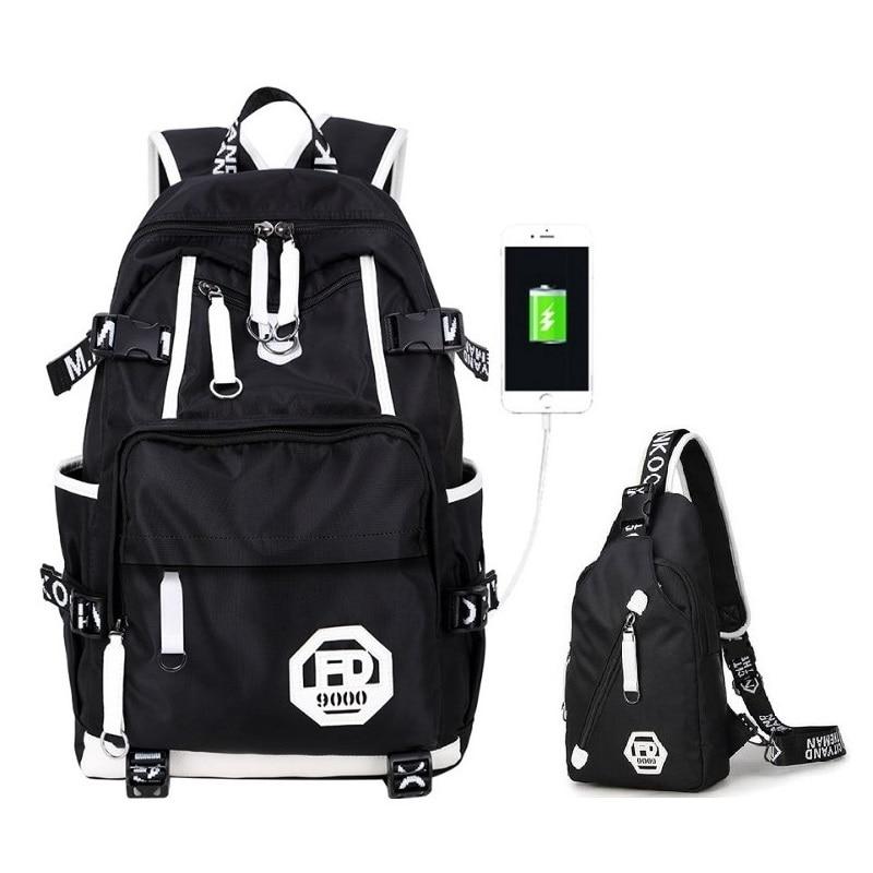 Fashion Man Back Bag Youth College School Bag USB Charging Jack Laptop Mochila Boys Shoulder Bag Zaino Da Viaggio Donna