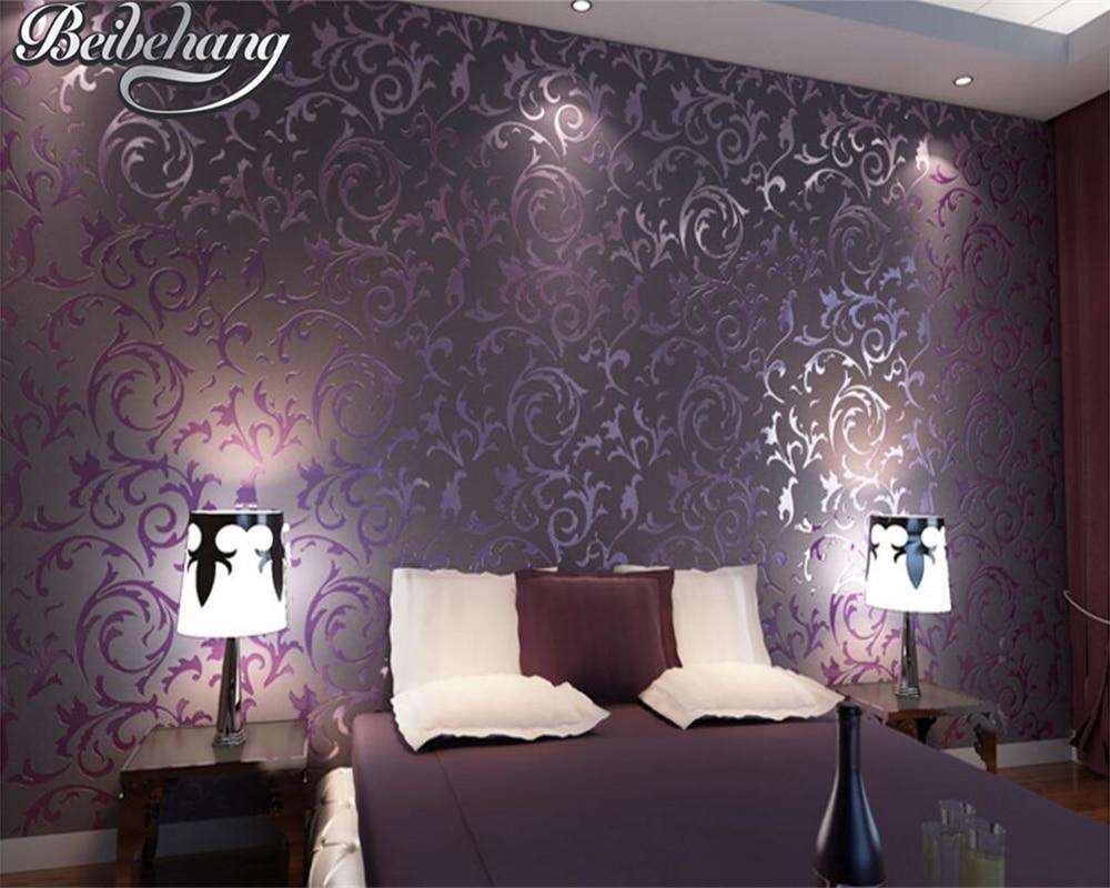 US $31.11 39% OFF|Beibehang Europäischen stil tapete luxus damaskus silber  lila 3D tapete schlafzimmer wohnzimmer dekoration tapety-in Tapeten aus ...