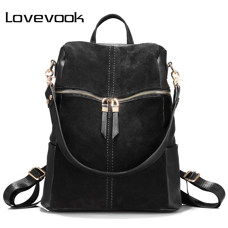 LOVEVOOK Backpack Shoulder-Bags Teenage-Girls Black Genuine-Leather Women for Female