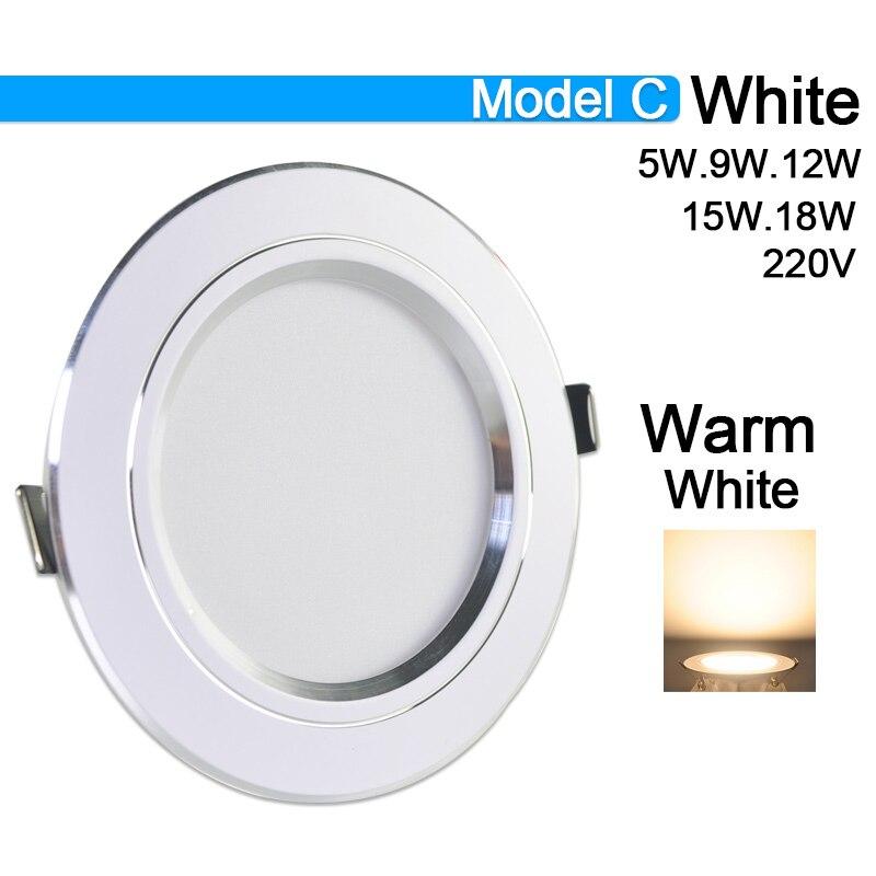 Потолочный светильник 3 Вт 5 Вт 9 Вт 12 Вт 15 Вт 18 Вт точечный светодиодный светильник AC 220 В золотистый, серебристый, белый ультратонкий алюминиевый круглый встраиваемый Светодиодный точечный светильник - Испускаемый цвет: Model C Warm White