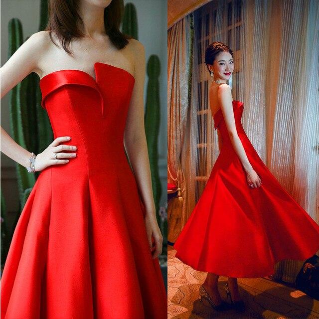 4df8527a93 Vestidos De Fiesta Simple Red Prom Dress Strapless Red Evening Gown Tea  Length Formal Party Dress Graduation Vestidos Longos