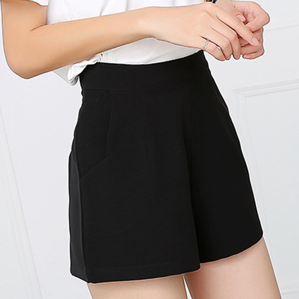 Summer Korean Fashion Black   Shorts   for Women High Waist Solid Chiffon   Shorts   Classic Basic Casual Wide Leg   Shorts   Femme