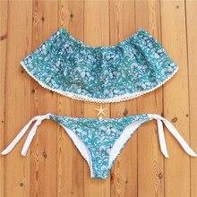 Sexy Micro Bikinis Women Bikini 2017 Swimsuit Low Waist Bathing Suit Push Up Swimming Suit Beach Swimwear Set Print Blue