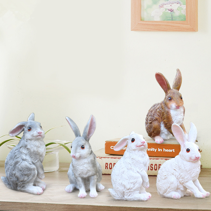2pcs/set Garden Yard Decoration Simulation Rabbit Statue Animals Sculpture Resin Crafts Home Decoration Ornament