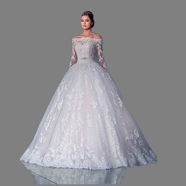 Vintage Lace Wedding Dresses 2017 Long Sleeve Ball Gowns Russian