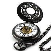 2010 Black Skeleton Antique Mechanical Pocket Watch