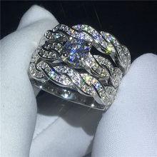 efe4f98c800b 3-en-1 Cruz promesa oro blanco anillo de compromiso boda banda anillos para  las mujeres los hombres AAAAA zircon de dedo cz de l.
