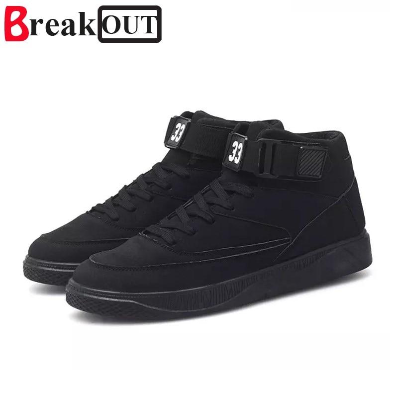Break Out Spring Autumn Lace Up Men's Canvas Shoes Man Buckle Casual Ankle Boots Winter Fashion Leather Shoes Men Flats