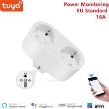 Alexa תואם 2 ב 1 WiFi שקע 16A האיחוד האירופי סטנדרטי כוח ניטור Tuya app שלט רחוק חכם שקע לעבוד עם google בית
