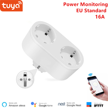 Alexa kompatibel 2 in 1 WiFi Buchse 16A EU standard Power überwachung Tuya app fernbedienung smart outlet arbeit mit google hause
