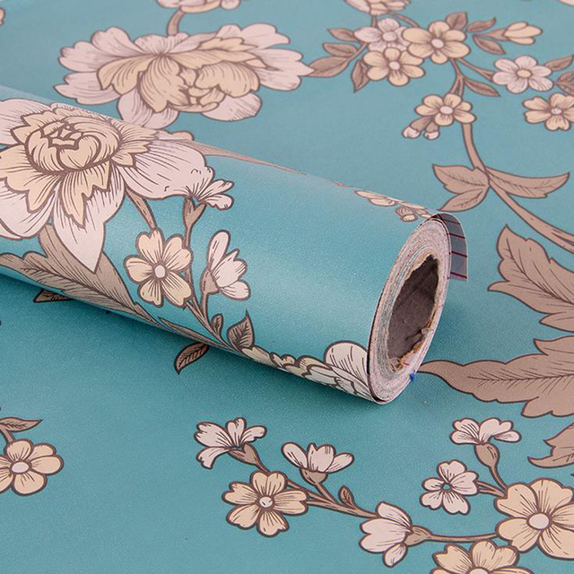 25meter Waterproof PVC Self Adhesive Vinyl Wallpaper Modern Floral Thick Wall Paper Rolls For