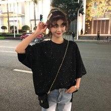 Fashion Sequins Casual Slim T-shirt Women Black White Tee Shirts Tops