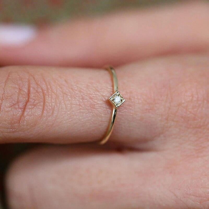 0.03CTW Projeto da Forma Redonda 14 k Branco/Amarelo/Rosa de Ouro Solitaire Natural de Noivado de Diamante Promessa de Casamento Anel - 3
