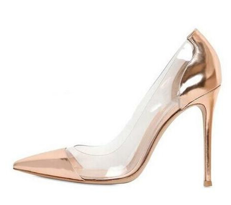 Zapatos Mujer Clear PVC Panel Transparent High Heels Sexy Pointed Toe Stilettos Bridal Wedding Shoes Red