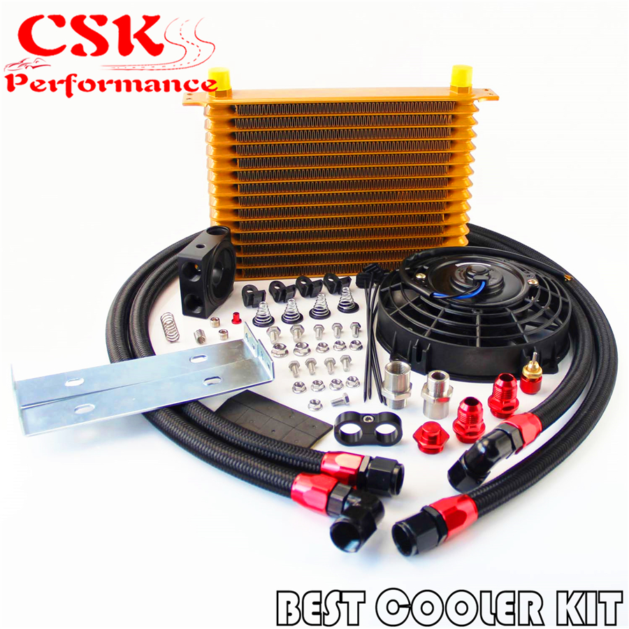 15 Row Trust Oil Cooler Thermostat Sandwich Plate Kit+7 Electric Fan kit Gold / Black / Silver15 Row Trust Oil Cooler Thermostat Sandwich Plate Kit+7 Electric Fan kit Gold / Black / Silver
