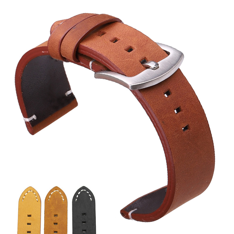 Italian Genuine Leather Watchbands Black Dark Brown Men 18 20 22mm Soft Vintage Watch Band Strap Metal Pin Buckle Accessories