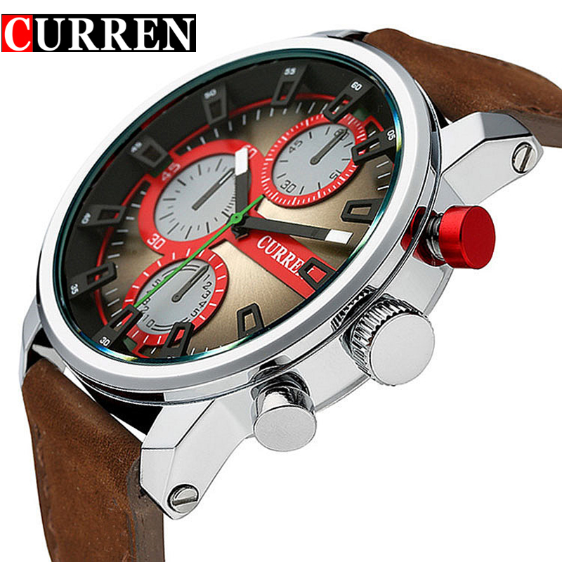 Relogio Masculino Original Curren Mens Watches Top Brand Luxury Sport Quartz Watch Men Wristwatch Waterproof Leather Strap Clock weide japan quartz watch men luxury brand leather strap stainless steel buckle waterproof new relogio masculino sport wristwatch
